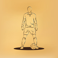 Soccer player stands near the ball and prepare for a kick. Vector retro illustration on old paper.
