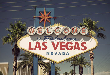 close-up of famous sign on Las Vegas Boulevard (Strip), vintage style, Nevada, USA