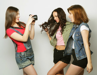 Best friends enjoying the moment with camera
