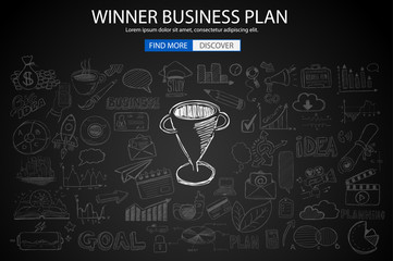 Winning Business Plan  Concept with Doodle design style