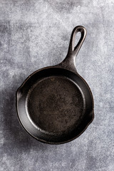 cast iron pan on dark background
