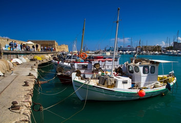 Fishing boats in the old port of Heraklion. Crete