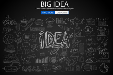 Big Idea  Concept with Doodle design style :finding solution