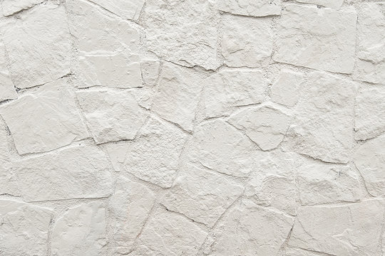 White stone mosaic wall background texture