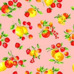フルーツのパターンを水彩画で