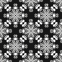 colored pixels in retro style tribal vintage seamless pattern