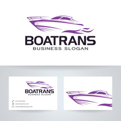 Boat trans vector logo with business card template