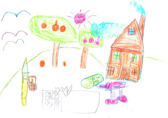 Paint drawing of an imaginary home, Made by child