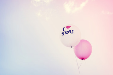 Wall Mural -  I love You text on balloon. concept of love in valentine's day - serenity and rose quartz color filter, vintage pastel effect
