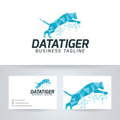 Data tiger vector logo with business card template