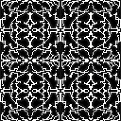 monochrome pixels are small polygons seamless pattern