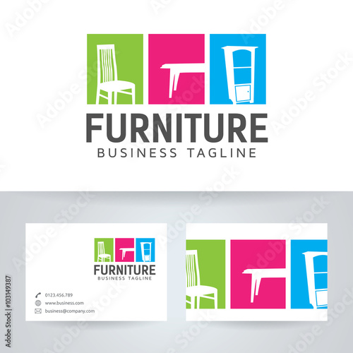 Furniture vector logo with business card template stock image and furniture vector logo with business card template reheart Gallery