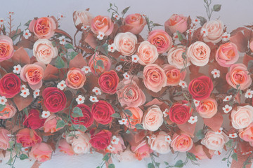 Wall Mural - Vintage Bouquet of rose flower - wedding decoration, background for love and valentine's day.