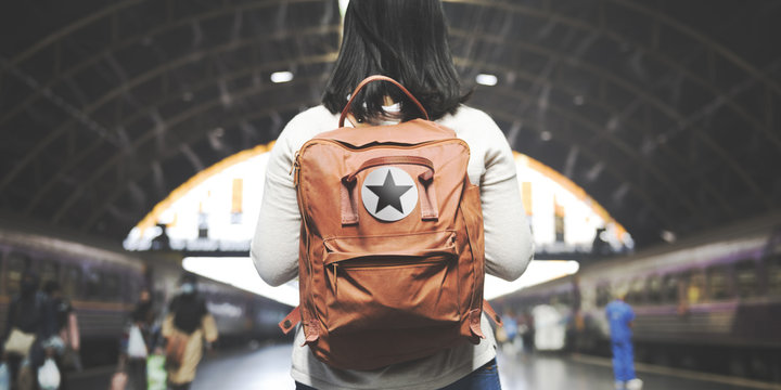 Asian Lady Traveler Backpack City Concept