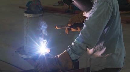 Welding work for steel pipe