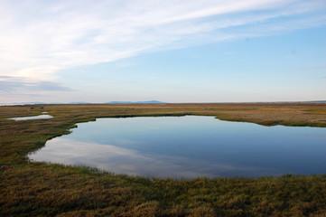 Tundra lake at arctic Island Chukotka