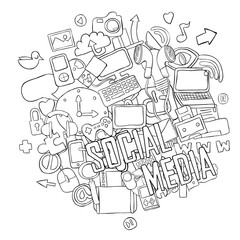 Social network background with media icons hand lettering and do
