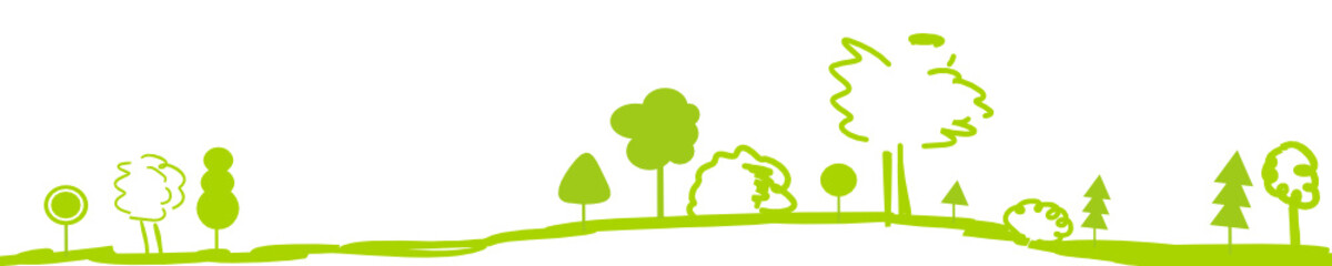 Wald Baum Wälder Bäume Landschaft Grün Zeichnung Panorama Banner