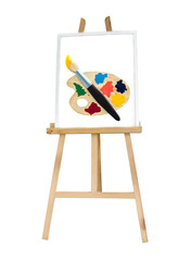Painting stand wooden easel with color palette