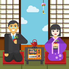 Geisha and samurai with tea cup tea ceremony
