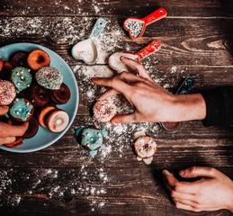 Delicius donuts with sugar