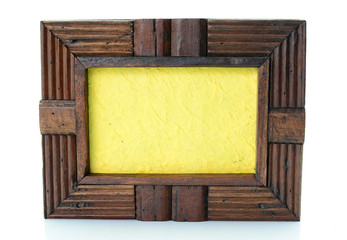 Vintage wooden picture frame on  white background