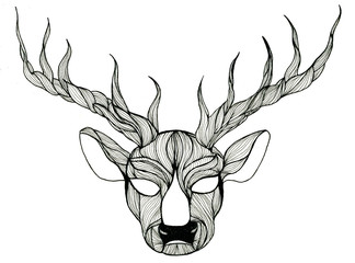 Deer head pen-and-ink drawing