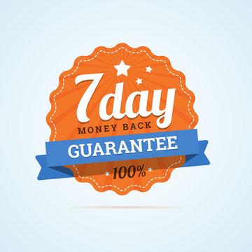 Seven day guarantee money back badge.