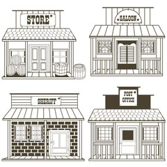 old west buildings outlined