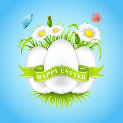 Happy Easter banner. Vector illustration. Realistic spring background with flowers, easter eggs and butterflies.