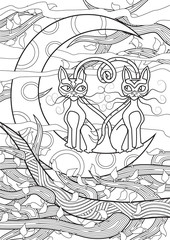 Adult Coloring book – illustration. Tattoo set: Cats.