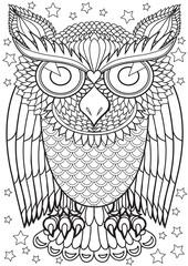 Adult Coloring book – illustration. Tattoo set: Owl.  Vector illustration.