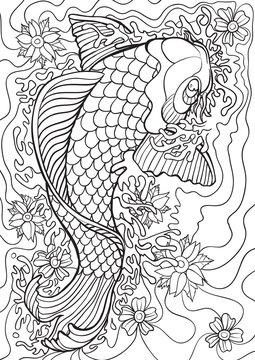 Adult Coloring book – illustration. Tattoo set: Koi.  Vector illustration.