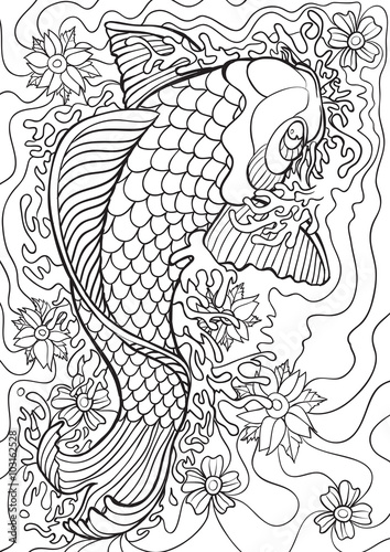 adult coloring book illustration tattoo set koi vector illustration - Tattoo Coloring Books