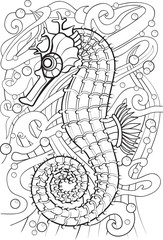 Adult Coloring book – illustration. Tattoo set: Seahorse. Vector illustration.