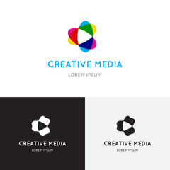 Creative media logo. Vector template of play logo, media logo, multimedia logo and other use.