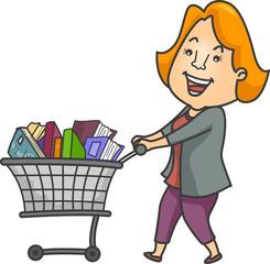 Girl Book Sale Push Cart