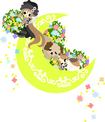 A girl with flowers and a dog and a cat are resting on the moon, and flowers are dancing.