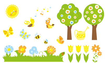 set of cute cartoon nature objects : flowers, singing birds, flying, butterflies, bees, blooming trees  / joyful collection of spring vectors for children