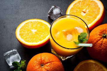 Fresh orange juice and orange