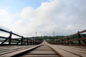 Saphan Mon wooden bridge in morning time
