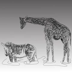 the image of giraffe and Zebra in the style of the hand drawing