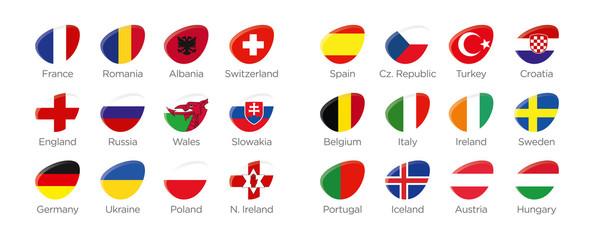 Moderne Symbole Ellipse der Euro 2016 Teilnehmer in Frankreich