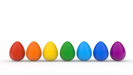 Happy easter poster, rainbow colored realistic eggs, white background, holiday card, isolated