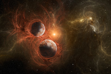 Violent birth of new planets with nebula in space