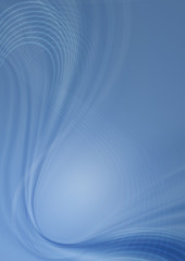 Blue background with transparent curved wave and intersecting thin white lines