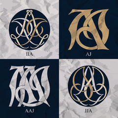 Vintage Monograms - 4 sets - monograms series