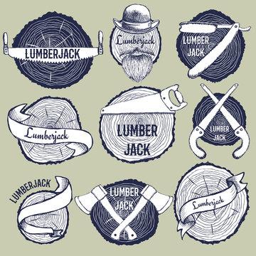 Sketch set of lumberjack logotypes