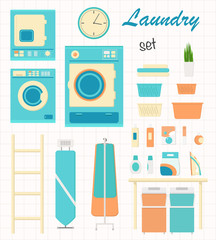 Laundry set with washing machine, iron, ironing board, clothes pole in flat style. Vector illustration