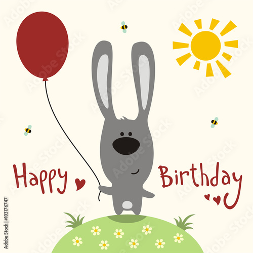 Happy Birthday Card Vector Funny Rabbit With Balloon Handwritten Text